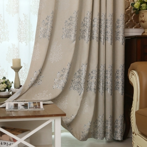 European Minimalist Style Living Room Bedroom Jacquard Curtains Grommet 2PCS -