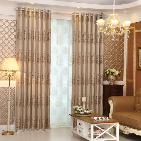 Fashion European Minimalist Style Living Room Bedroom Jacquard Curtains Grommet 2PCS
