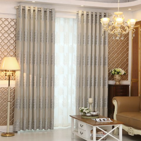 Chic European Minimalist Style Living Room Bedroom Jacquard Curtains Grommet 2PCS