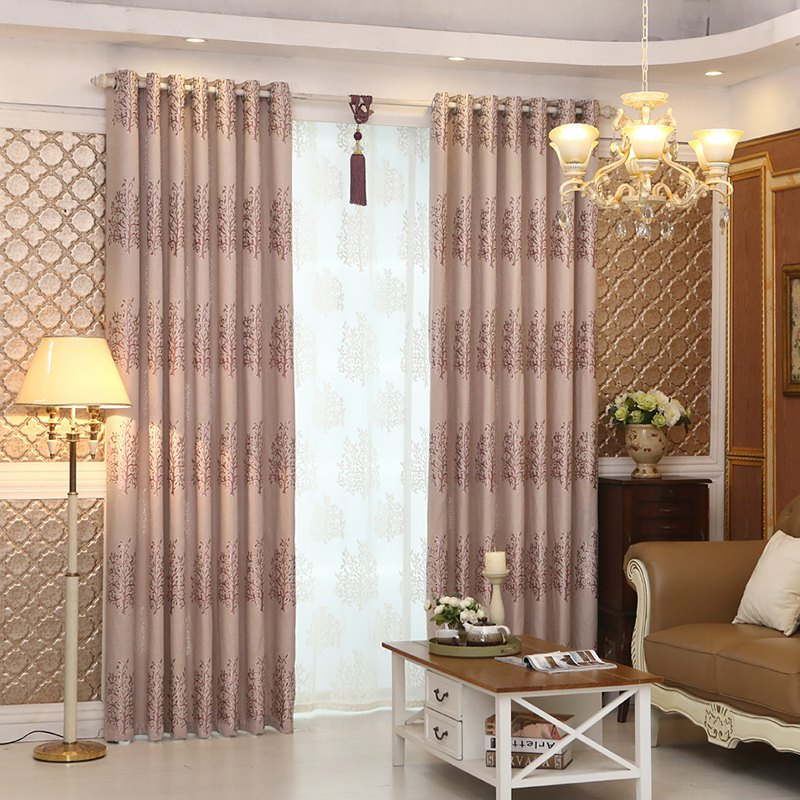 Unique European Minimalist Style Living Room Bedroom Jacquard Curtains Grommet 2PCS