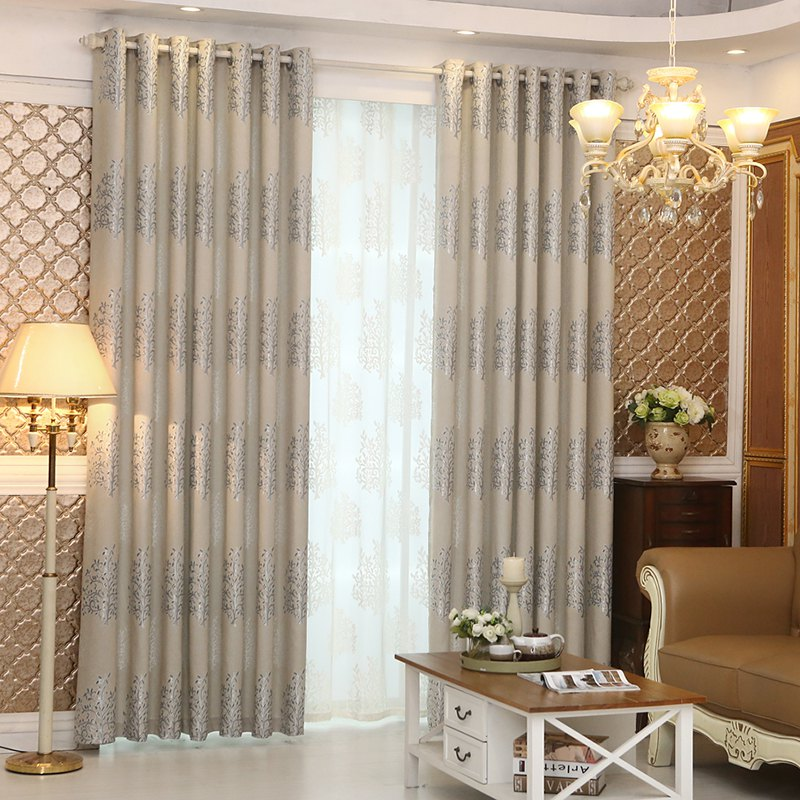 New European Minimalist Style Living Room Bedroom Jacquard Curtains Grommet 2PCS