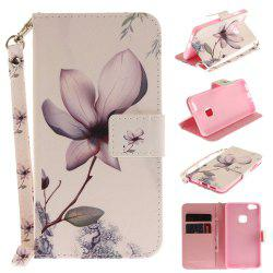 Cover Case for Huawei P10 Lite Magnolia PU+TPU Leather with Stand and Card Slots Magnetic Closure -