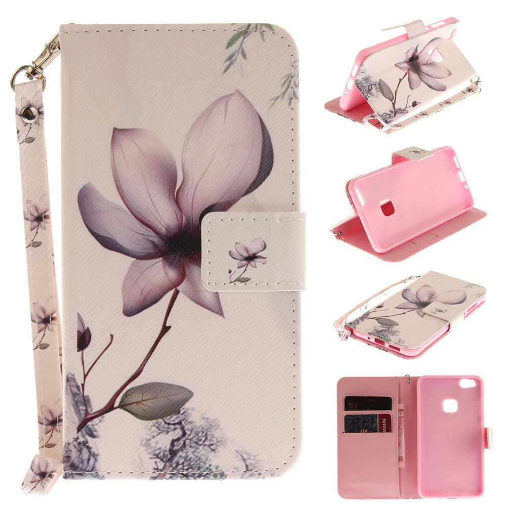 Latest Cover Case for Huawei P10 Lite Magnolia PU+TPU Leather with Stand and Card Slots Magnetic Closure