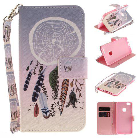 Shop Cover Case for Huawei P10 Lite Color Bells PU+TPU Leather with Stand and Card Slots Magnetic Closure