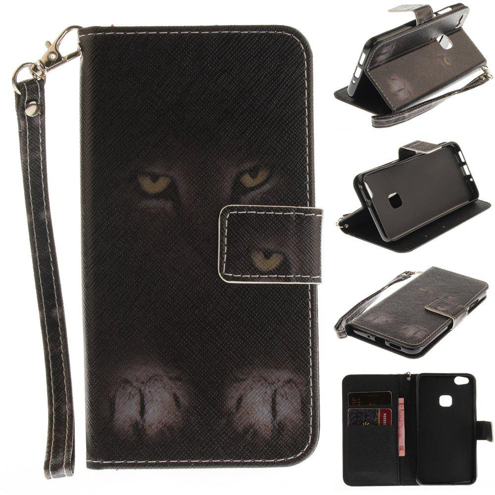 New Cover Case for Huawei P10 Lite Mystery Cat PU+TPU Leather with Stand and Card Slots Magnetic Closure