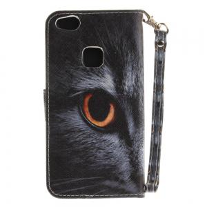 Cover Case for Huawei P10 Lite Half A Face of A Cat PU+TPU Leather with Stand and Card Slots Magnetic Closure -