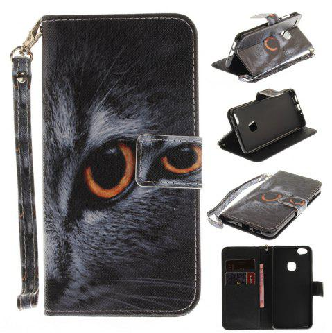 Trendy Cover Case for Huawei P10 Lite Half A Face of A Cat PU+TPU Leather with Stand and Card Slots Magnetic Closure