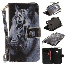 Cover Case for Huawei P10 Lite The White Tiger PU+TPU Leather with Stand and Card Slots Magnetic Closure -