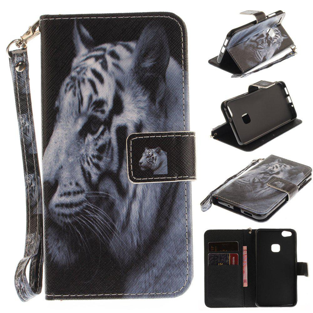 Buy Cover Case for Huawei P10 Lite The White Tiger PU+TPU Leather with Stand and Card Slots Magnetic Closure