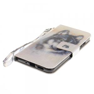 Cover Case for Huawei P10 Lite Wolf PU+TPU Leather with Stand and Card Slots Magnetic Closure -