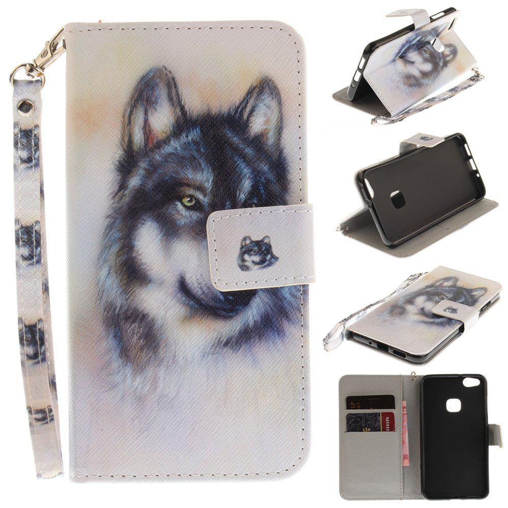 Sale Cover Case for Huawei P10 Lite Wolf PU+TPU Leather with Stand and Card Slots Magnetic Closure