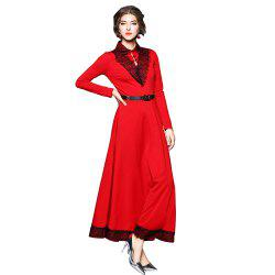 Lapel Long Sleeve Waist Big Swing Vintage Dress -