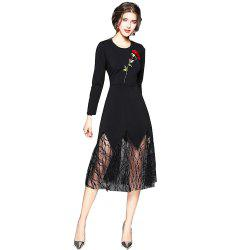 Long Sleeve Round Neck Embroidery Lace Patchwork Dress -