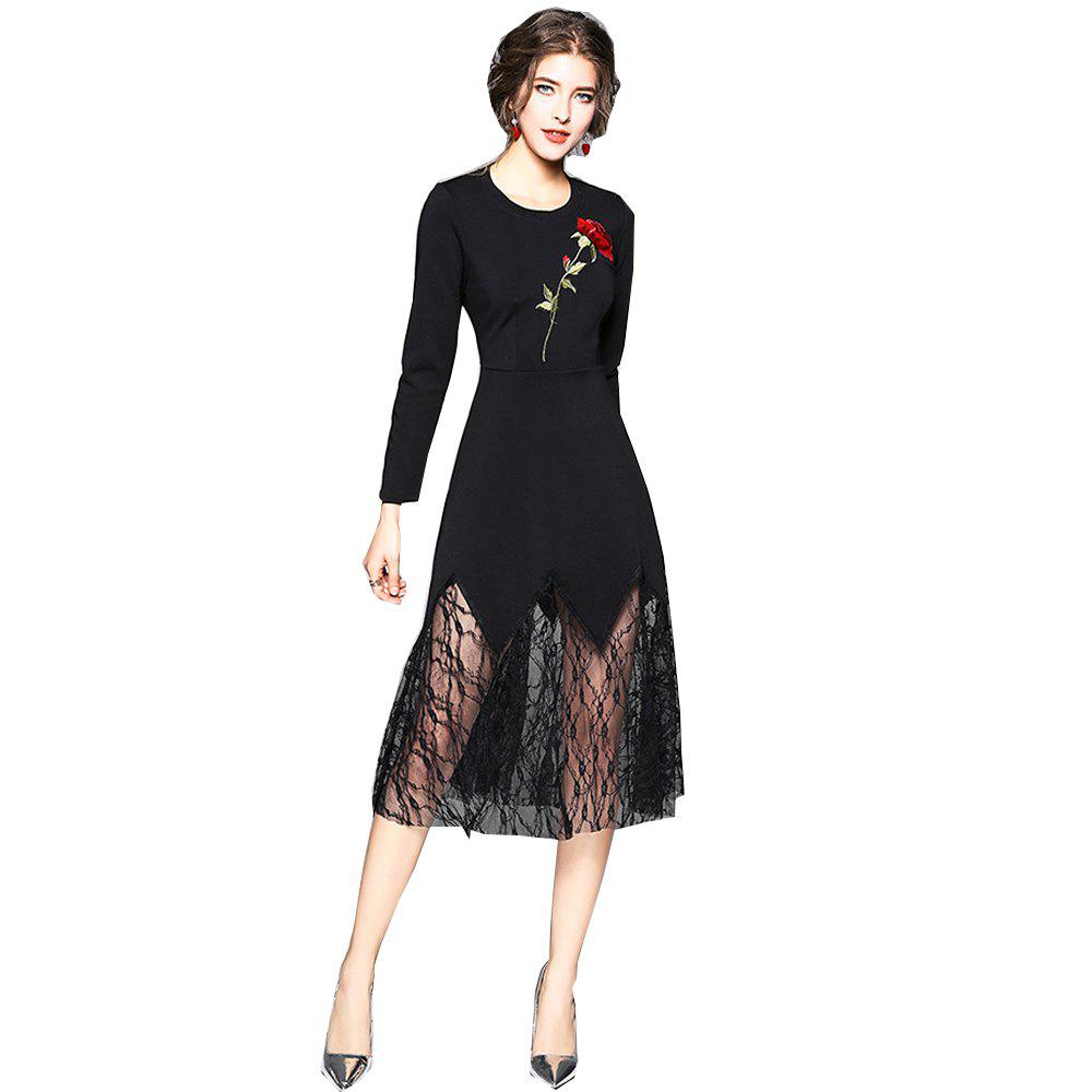 Hot Long Sleeve Round Neck Embroidery Lace Patchwork Dress