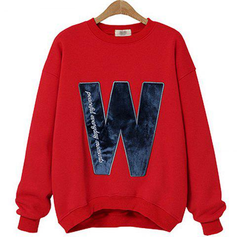 Fashion Thick Long Cashmere Embroidered Letter Sweatshirt