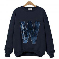 Thick Long Cashmere Embroidered Letter Sweatshirt -