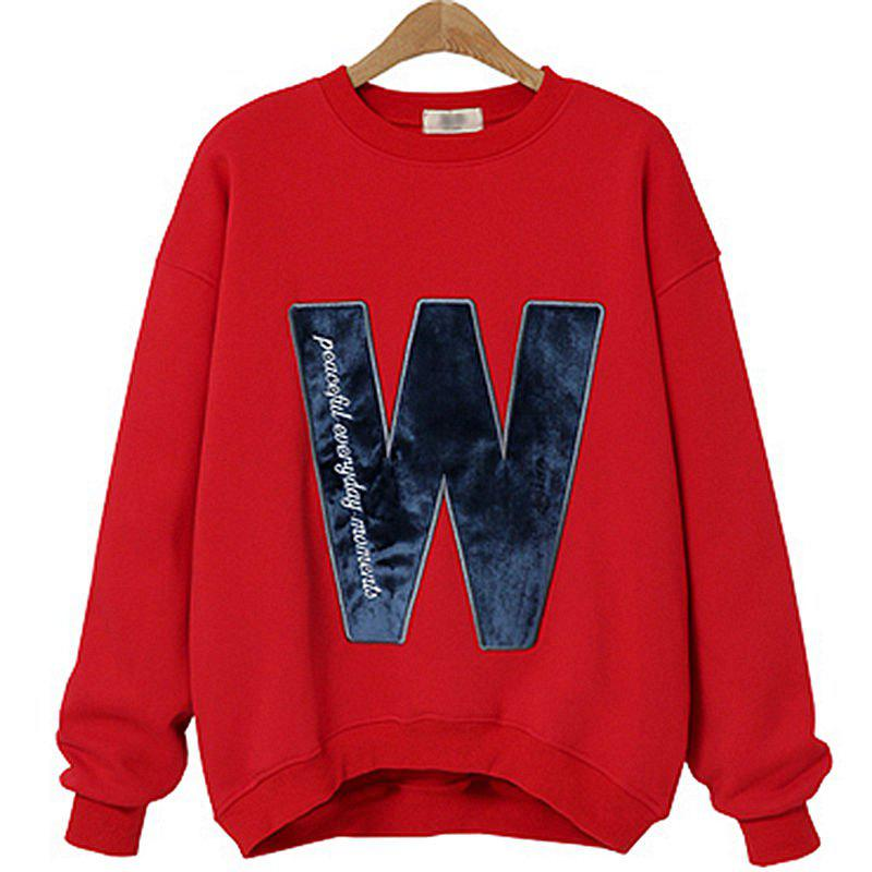 Chic Thick Long Cashmere Embroidered Letter Sweatshirt