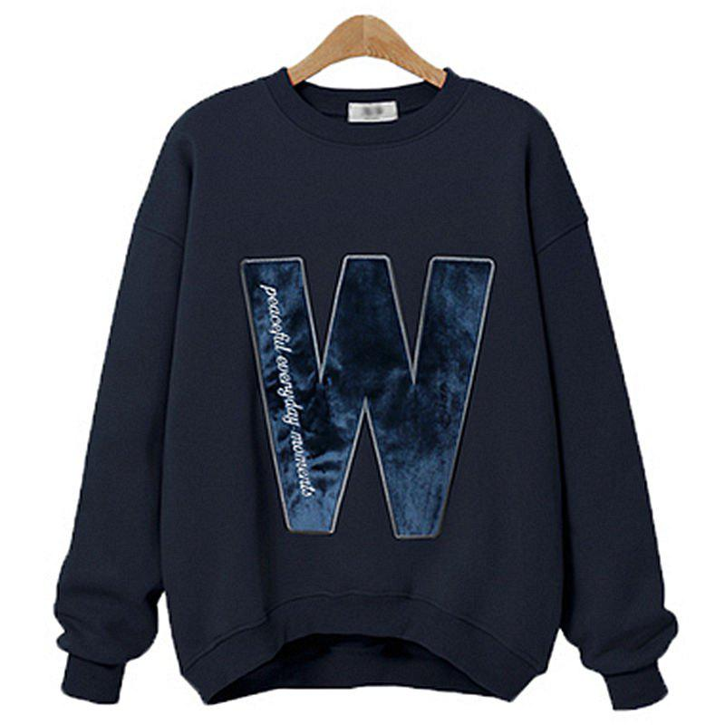 Hot Thick Long Cashmere Embroidered Letter Sweatshirt