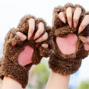 Cat Claw Half-finger Gloves Winter Lovely Gloves for Women and Girls -