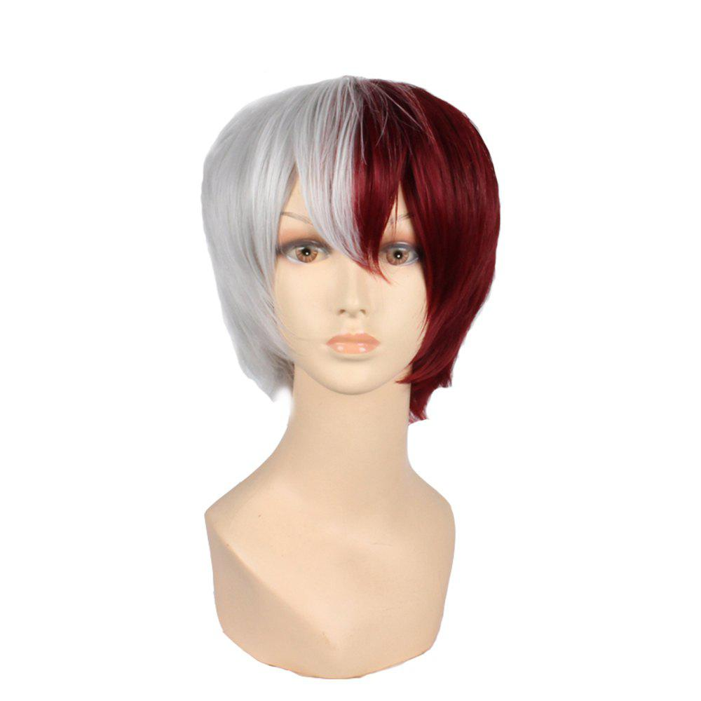 Online Red White Short Synthetic Straight Hair Anime Cosplay Party Wig Costume for Men