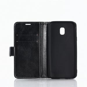 Cover Case for Samsung Galaxy J730 Lychee Striped Back Button Leather -