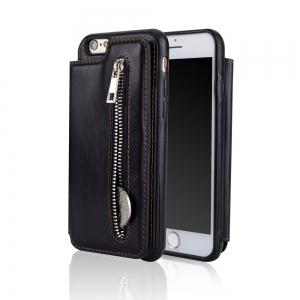 Leather Business Case for iPhone 6 / 6S Zipper Handbag Wallet Flip Cover -