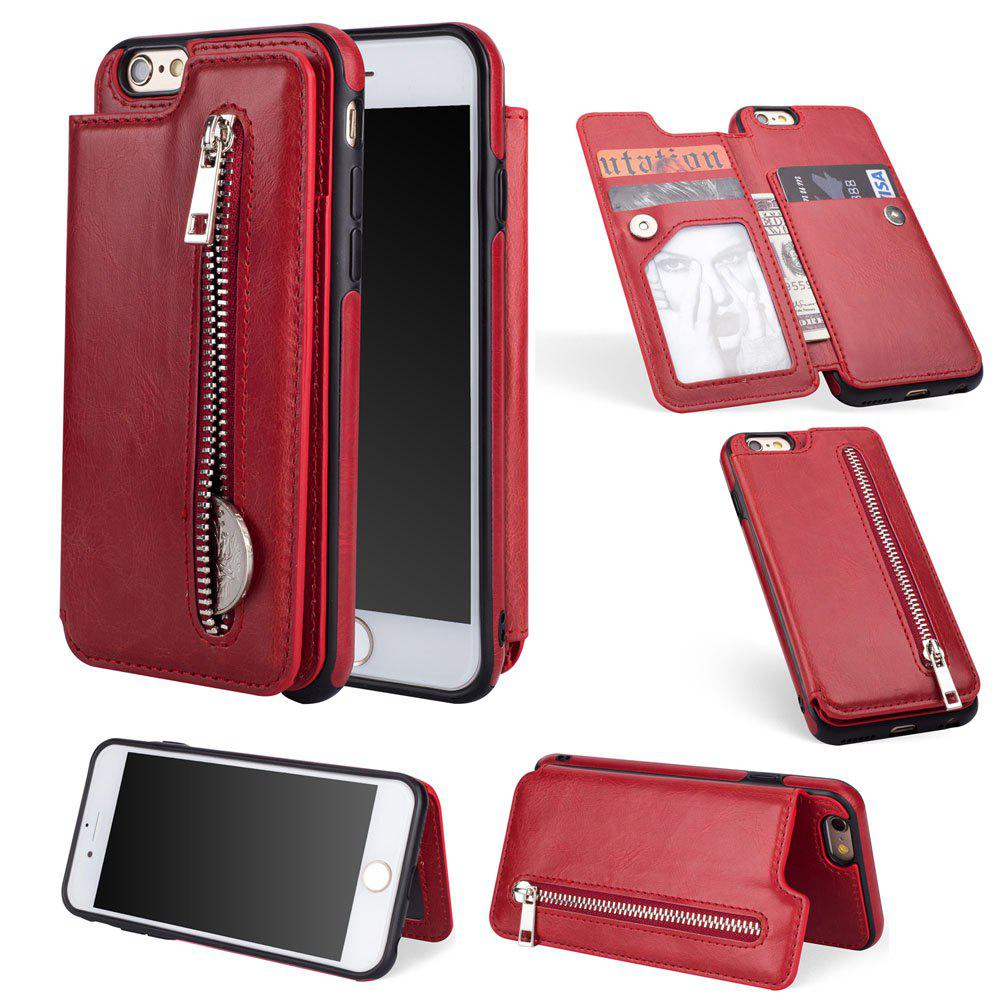 Fancy Leather Business Case for iPhone 6 / 6S Zipper Handbag Wallet Flip Cover