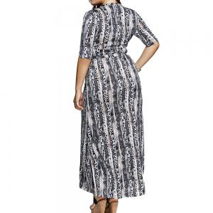 Large-Size Women Fashion Printing Knit Elastic Sleeve Dress -