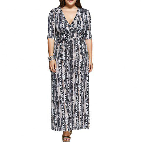 Affordable Large-Size Women Fashion Printing Knit Elastic Sleeve Dress