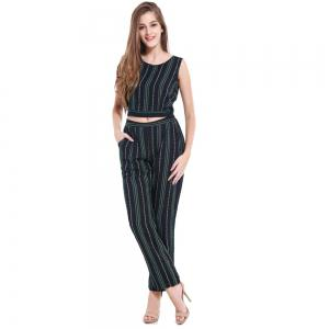 Summer Fashion Striped Cotton Sleeveless Vest Sexy Exposed Navel Trousers Two-Piece Suit -