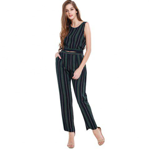Online Summer Fashion Striped Cotton Sleeveless Vest Sexy Exposed Navel Trousers Two-Piece Suit