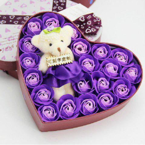 Affordable Heart box Bear Rose Flower Soap  Bouquet  Valentines Gift