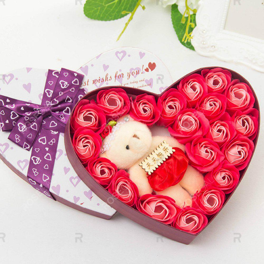 Discount Heart box Bear Rose Flower Soap  Bouquet  Valentines Gift