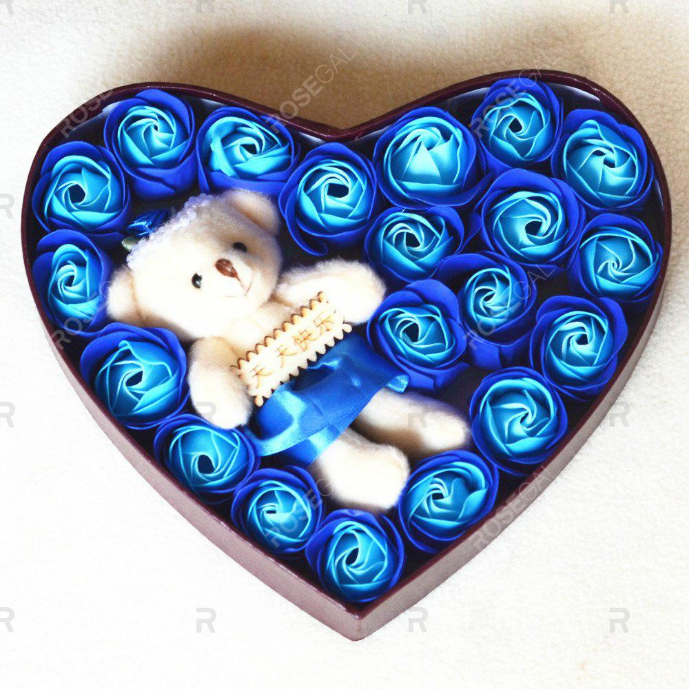 Fancy Heart box Bear Rose Flower Soap  Bouquet  Valentines Gift