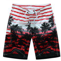 Men's Mid Rise Micro Elastic Boho Active Loose Patchwork Striped Shorts Pants -