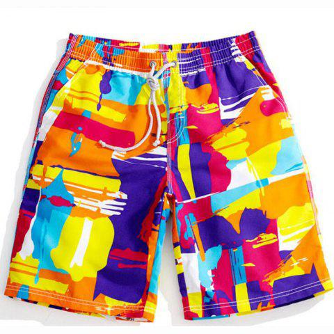 Best Men's Mid Rise Micro Elastic Boho Active Loose Patchwork Print Shorts Pants