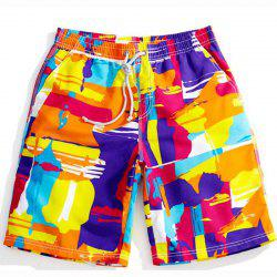 Men's Mid Rise Micro Elastic Boho Active Loose Patchwork Print Shorts Pants -