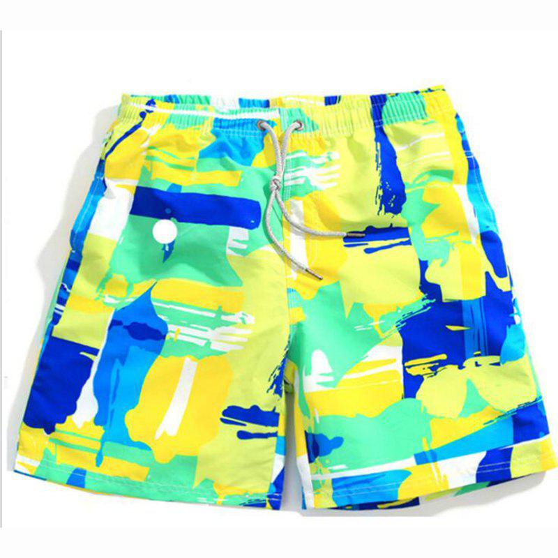 Latest Men's Mid Rise Micro Elastic Boho Active Loose Patchwork Print Shorts Pants