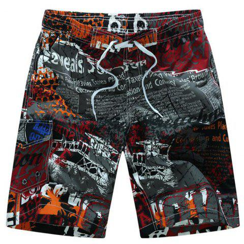 Affordable Men's Plus Size Chinese Style Elastic Waist Floral Beach Shorts Pants