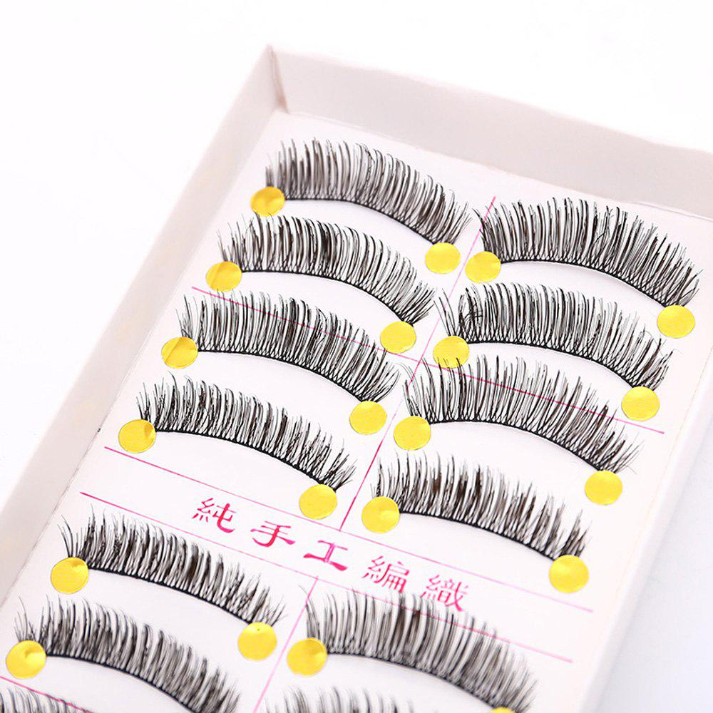 Buy Handmade False Eyelashes Thick Eye Tail Elongated Makeup 10 Pairs