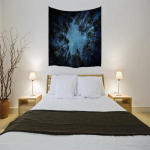 The Forest and Starry Sky 3D Digital Printing Home Wall Hanging Nature Art Fabric Tapestry for Dorm Bedroom Living Room -