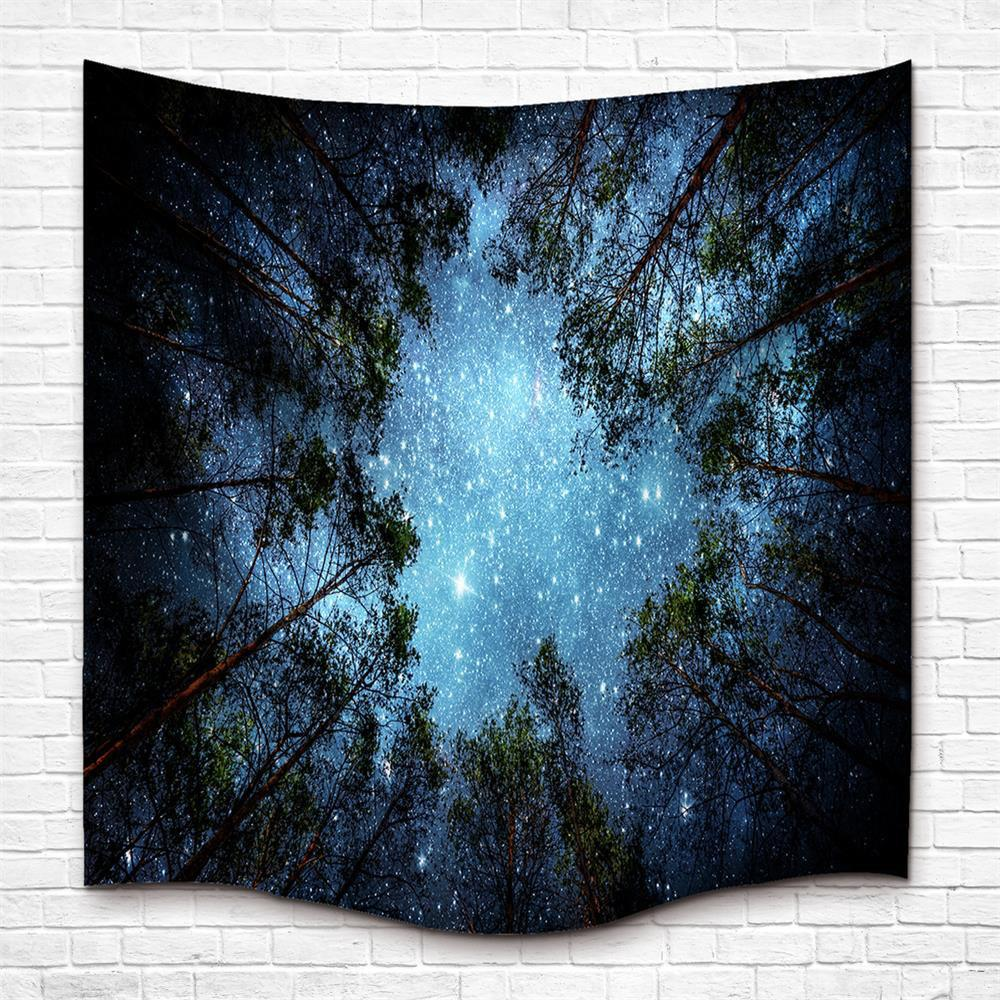 Sale The Forest and Starry Sky 3D Digital Printing Home Wall Hanging Nature Art Fabric Tapestry for Dorm Bedroom Living Room