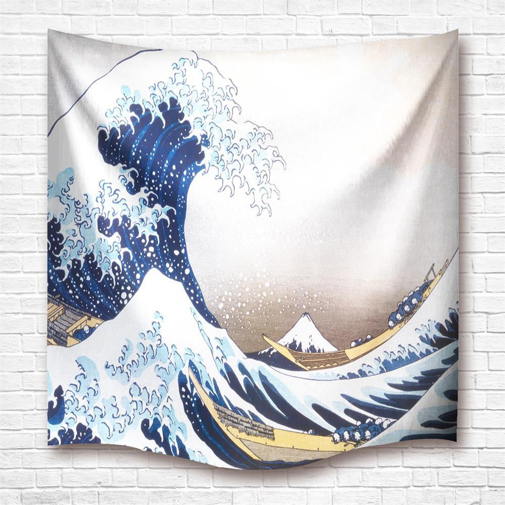 Shop Nachikawa Waves 3D Digital Printing Home Wall Hanging Nature Art Fabric  Tapestry For Dorm Bedroom