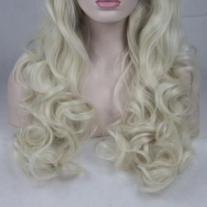 16 - 24 inch Light Blonde Long Curly Handmade Heat Resistant Synthetic Hair Lace Front Wigs for Women -