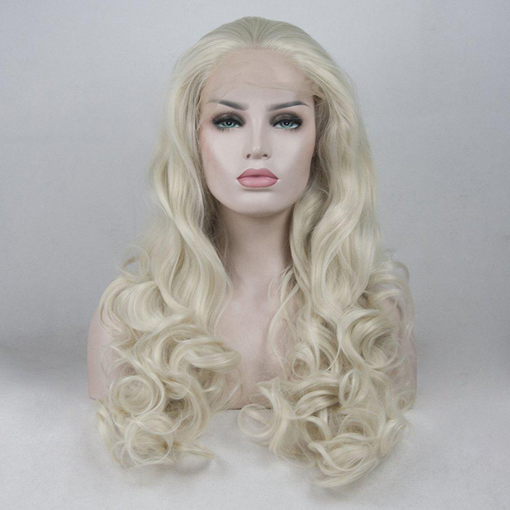 Best 16 - 24 inch Light Blonde Long Curly Handmade Heat Resistant Synthetic Hair Lace Front Wigs for Women