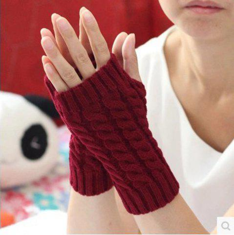 Cheap Popular 1 Pair Women Fashion Knitted Arm Fingerless Winter Gloves Soft Warm Mitten