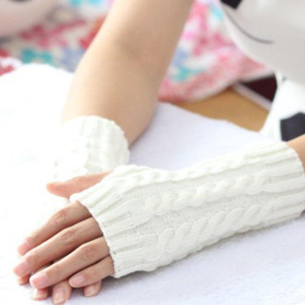Fancy Popular 1 Pair Women Fashion Knitted Arm Fingerless Winter Gloves Soft Warm Mitten