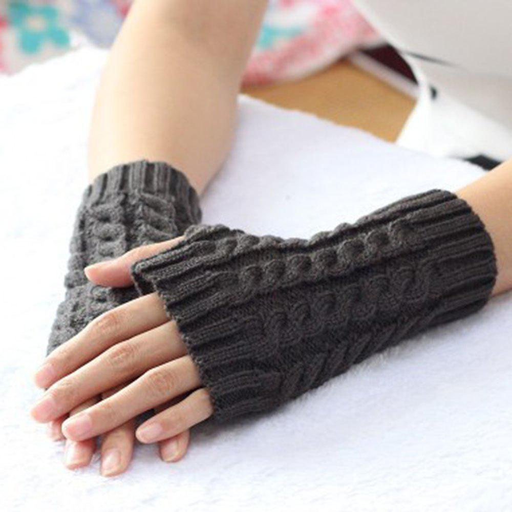 Unique Popular 1 Pair Women Fashion Knitted Arm Fingerless Winter Gloves Soft Warm Mitten