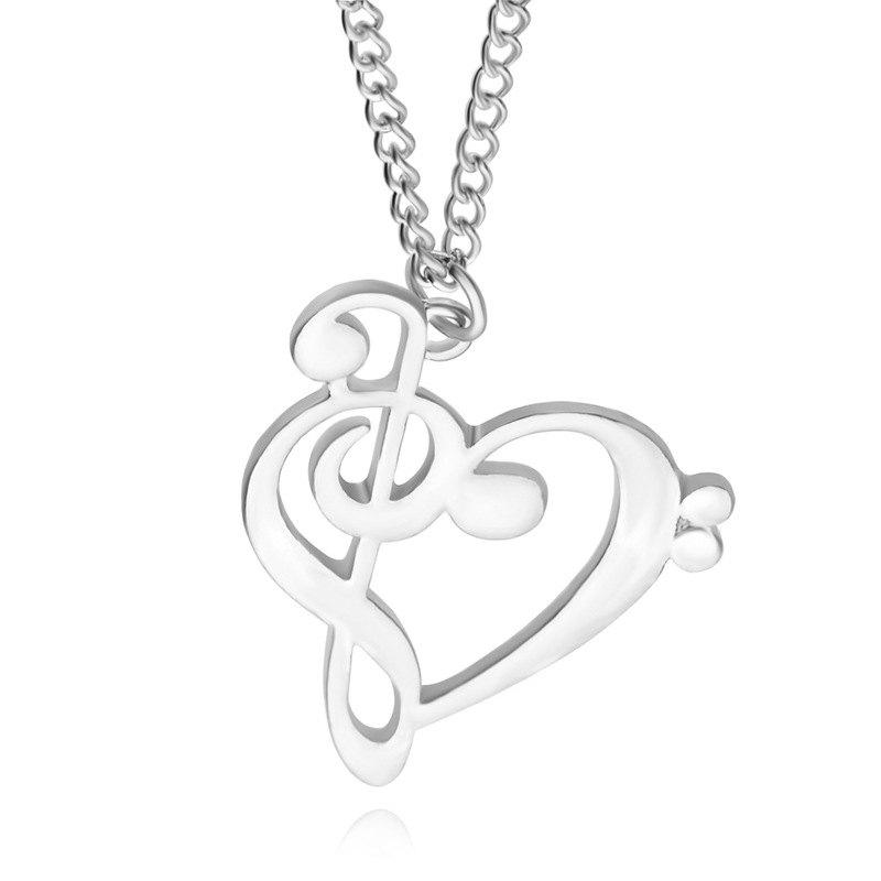 Silver Love Notes Necklace Stylish Hollow Music Symbols Rosegal