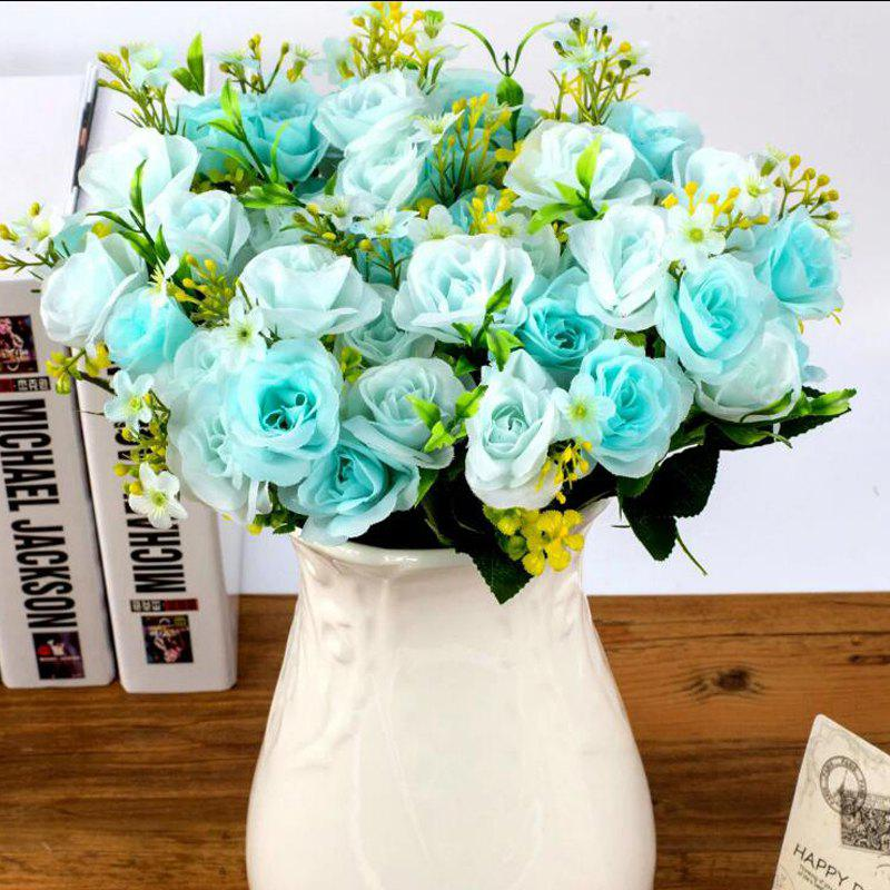 Affordable Artificial Flowers Vivid Pink Blue Rose Bouquet Home Decorative Display